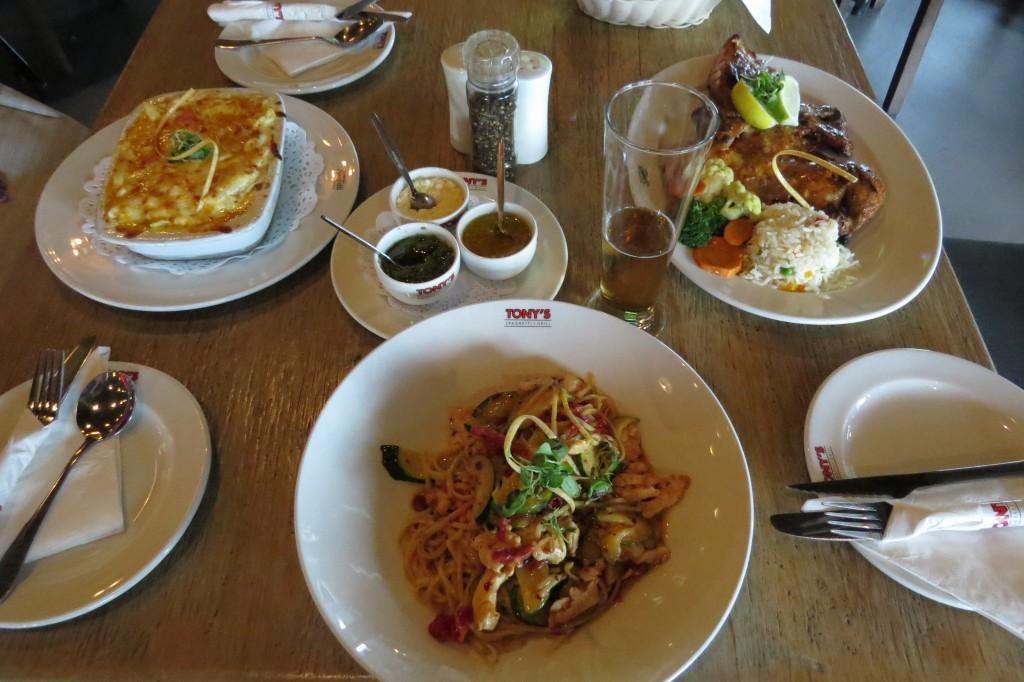 Food platters at Tony's Spaghetti Grill