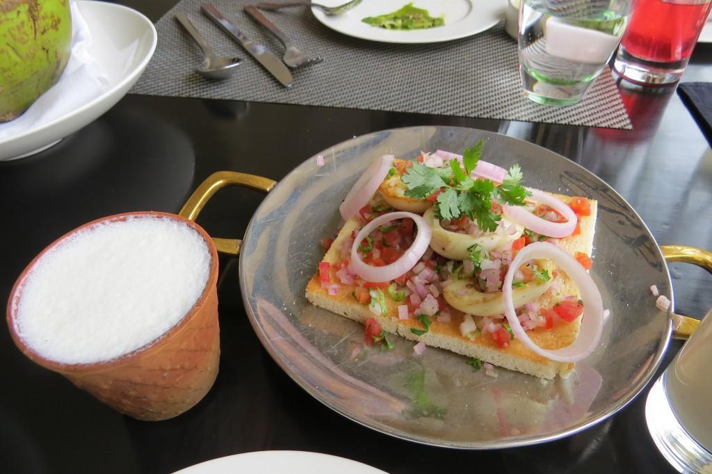 Boiled egg on toast with Badaam shake