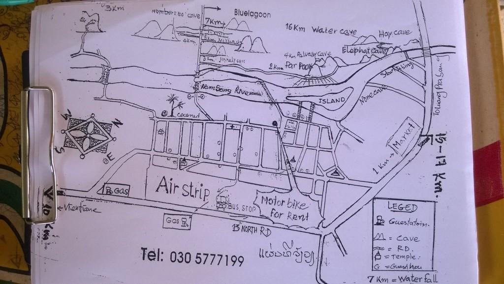 hand drawn map in laos