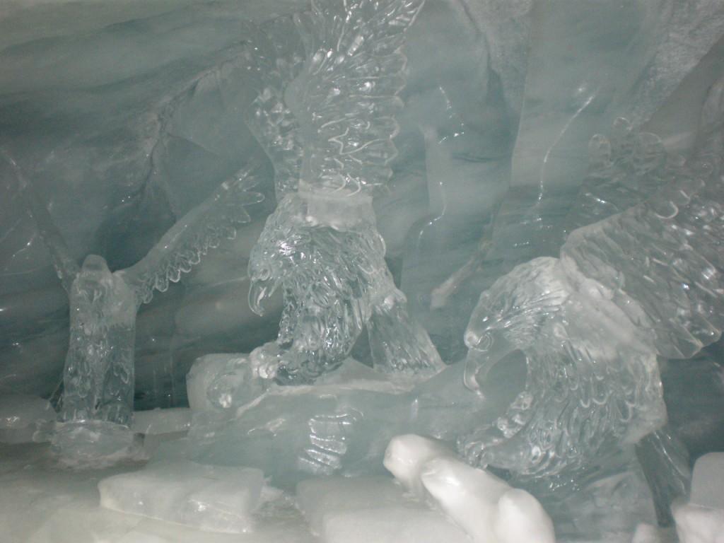 Glacier caves with snow sculptures