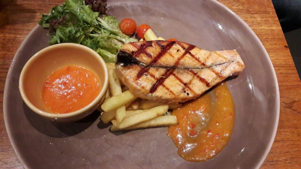 Soft and juicy salmon steak