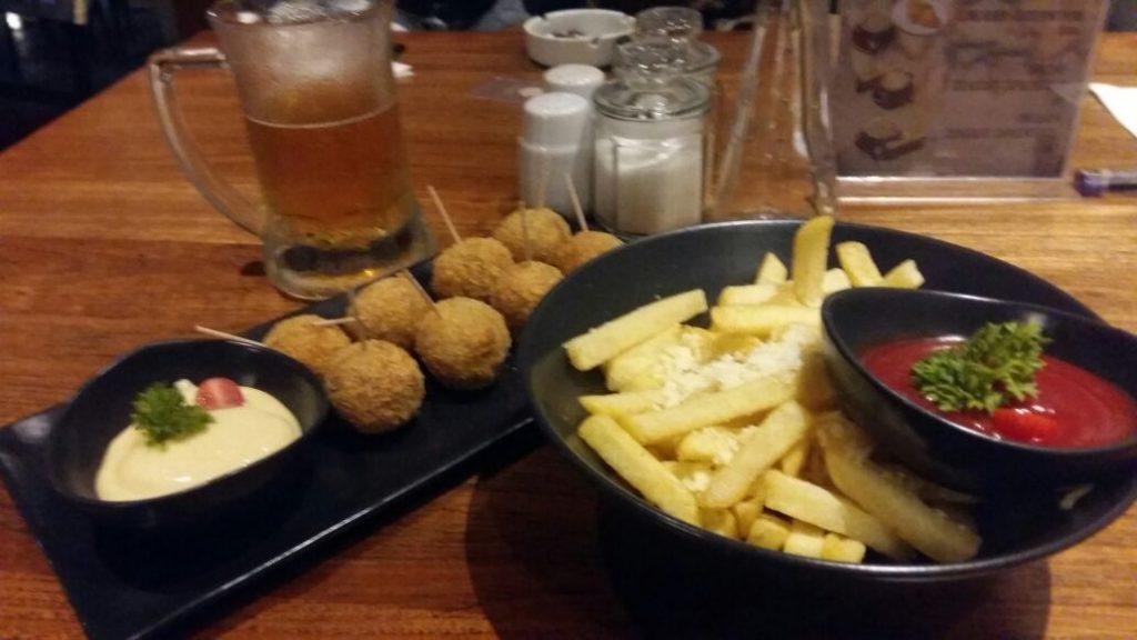 French fries and chicken balls
