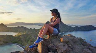 hiking up padar island