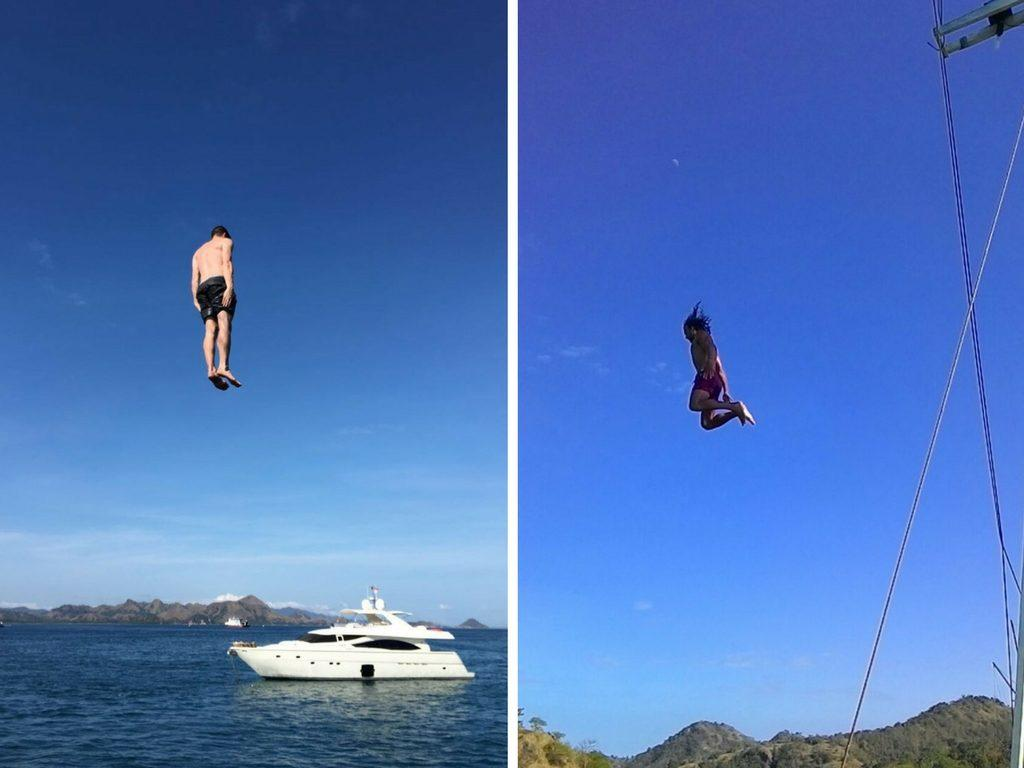 Jumping off the boat komodo