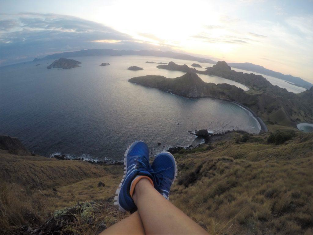 Having the time of my life atop this cliff at Padar