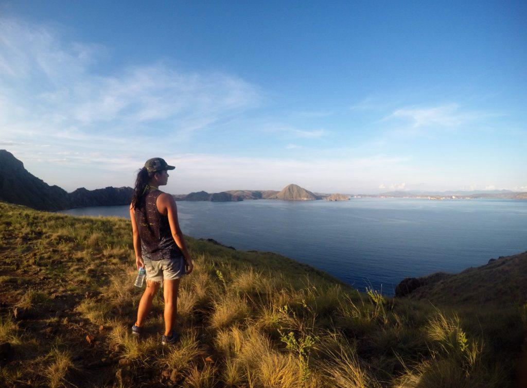 Hiking up padar island