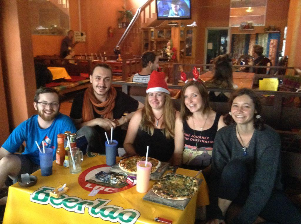 Danie enjoying Christmas with new friends in Vang Vieng