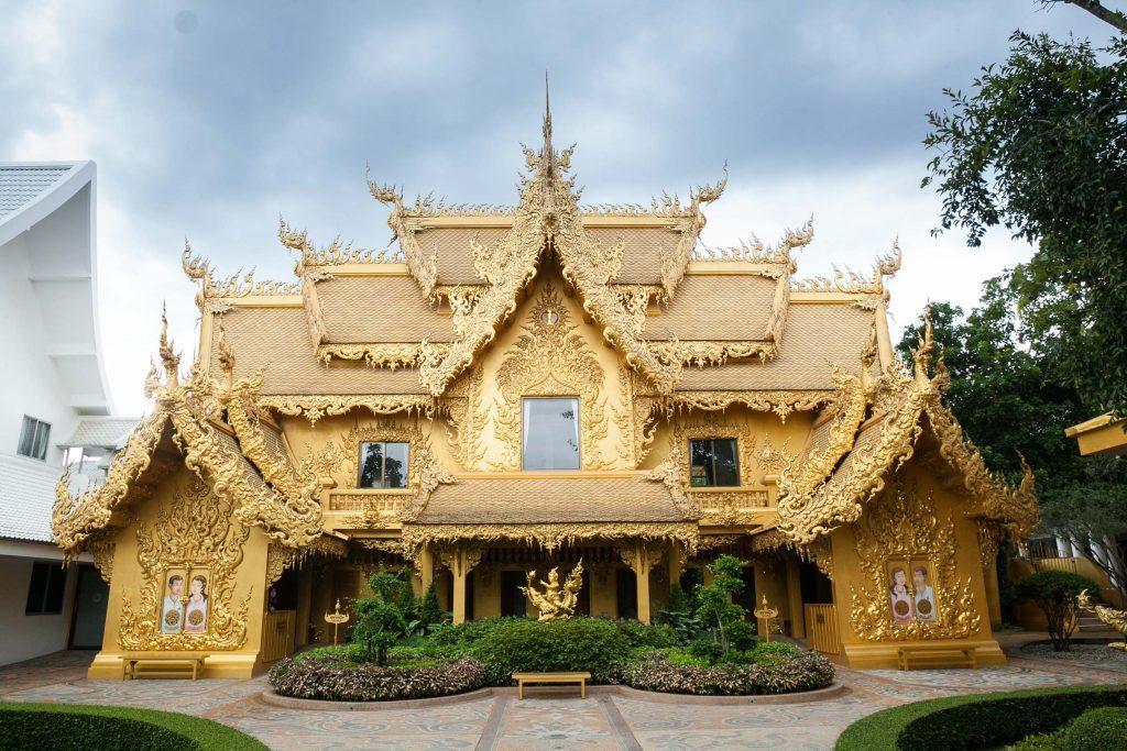 Golden Toilet at white temple