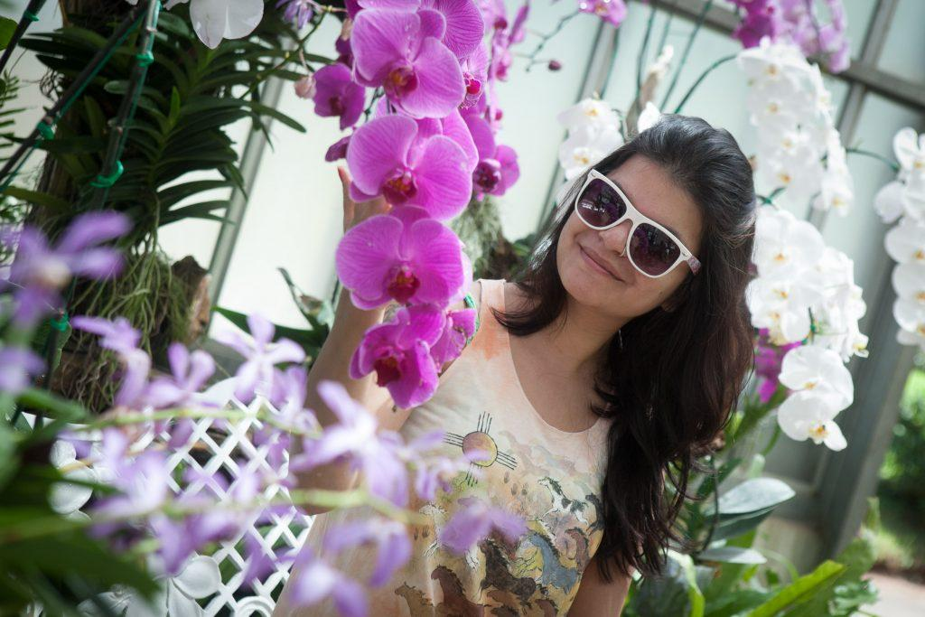 Admiring the exotic blooms at queen sirikit