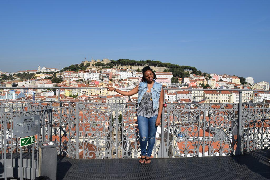 Rooftop view of Lisbon from the Santa Justa Terrace