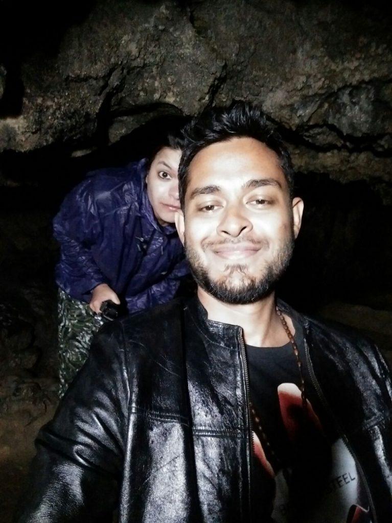selfie in cave