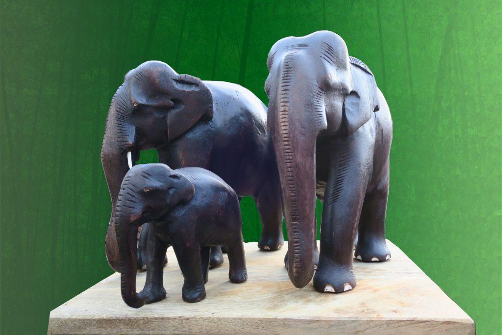 wood carved elephants