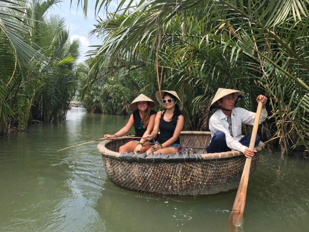 crab fishing on bamboo boats