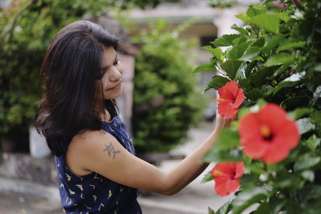 admiring flowers in georgetown