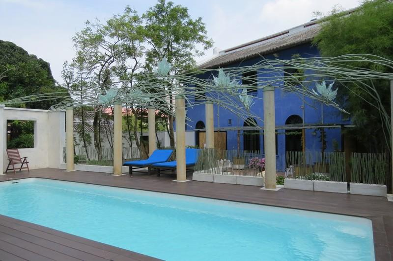 Swimming Pool at the blue mansion - notice the blue lounge chairs? ;P