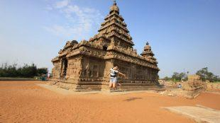 Jump shot at shore temple